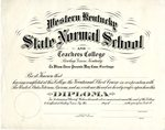 Blank Western Kentucky State Normal School Diploma by WKU Registrar