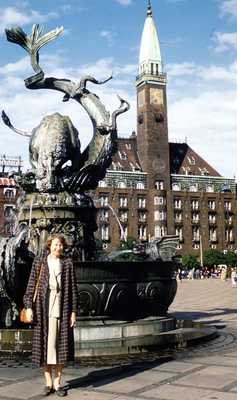 Evelyn Thurman in Copenhagen, Denmark by the Dragon Fountain, City Hall Square (SC 2834)