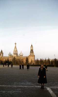 Evelyn Thurman in Red Square, Moscow, Russia, by St. Basil's Cathedral (SC 2834)