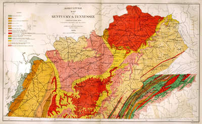 Agricultural Map Of Kentucky And Tennessee By Julius