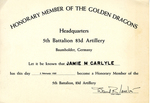 Gemini 15 Honorary Membership Certificate