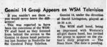 Gemini 14 Group Appears on WSM Television