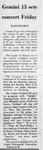 Gemini 15 Sets Concert Friday