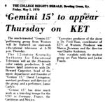 Gemini 15 to Appear Thursday on KET
