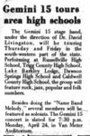 Gemini 15 Tours Area High Schools