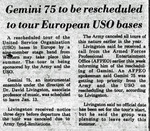 Gemini 75 to be Rescheduled to Tour European USO Bases