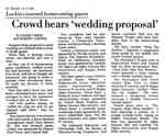 "Crowd Hears ""Wedding Proposal"""