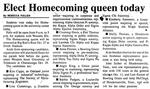 Elect Homecoming Queen Today by Rebecca Fullen