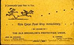 Old Bachelor's Protective Union 1888 calling card