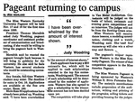 Pageant Returning to Campus by Debi Highland