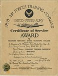 Certificate of Service Award by U.S. Army Air Forces Training Command