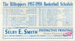 The Hilltoppers 1957-58 Basketball Schedule by Selby Smith