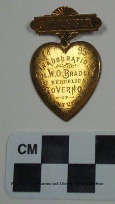 Souvenir 1895 Inauguration W. O. Bradley 1st Republican Governor of Kentucky pin