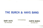 Business Card by Burch & Hays Band